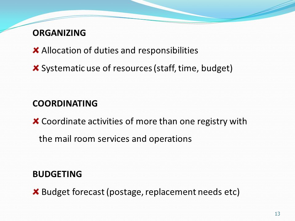 ORGANIZING Allocation of duties and responsibilities. Systematic use of resources (staff, time, budget)