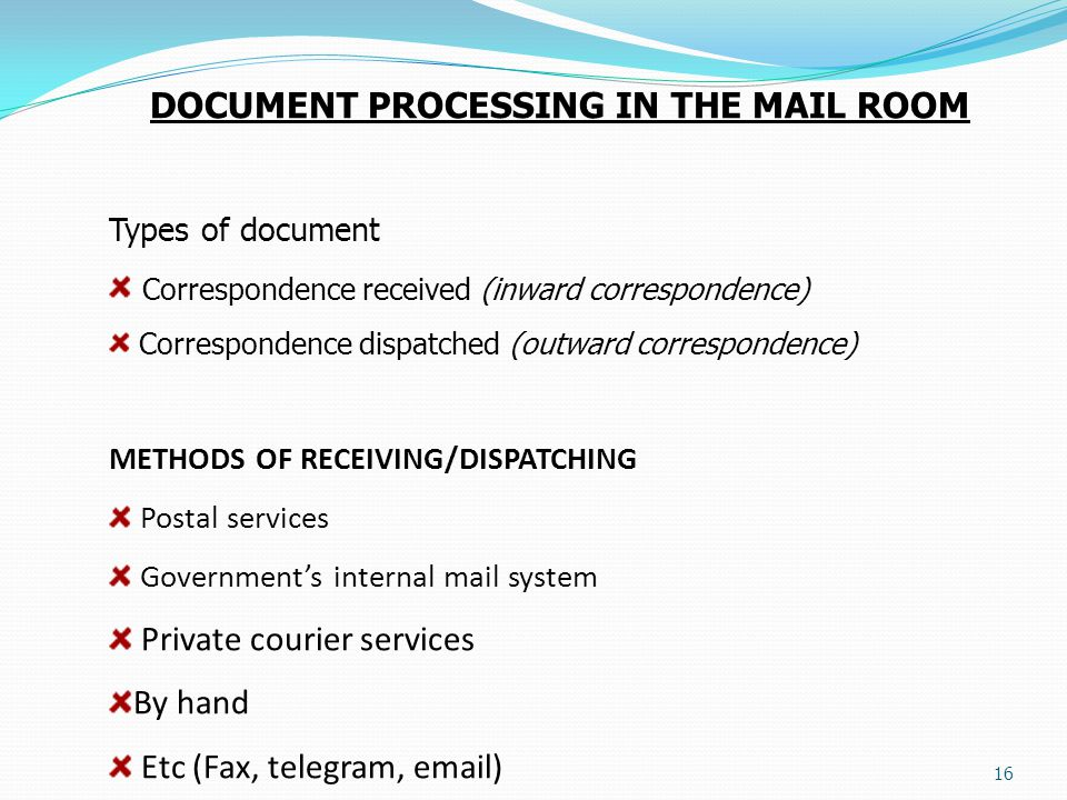 DOCUMENT PROCESSING IN THE MAIL ROOM