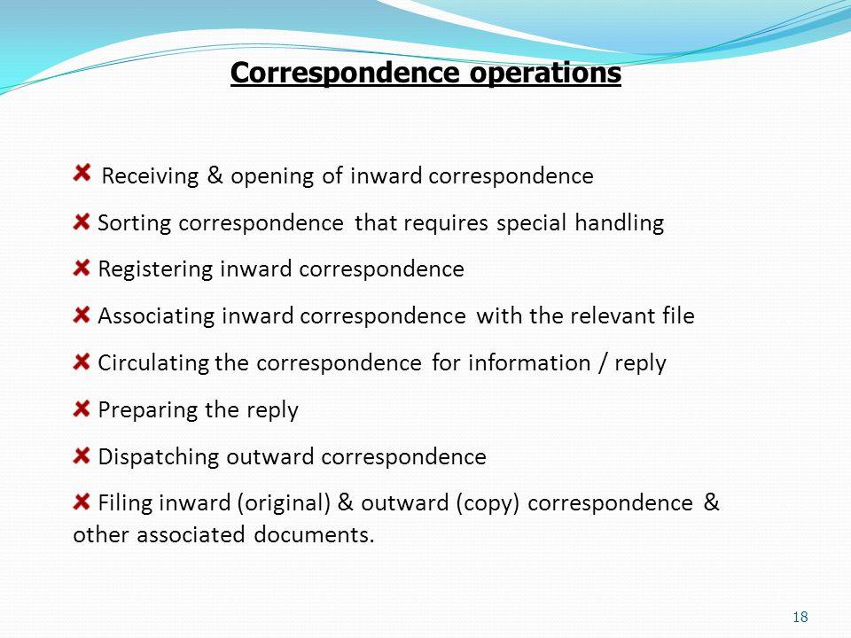 Correspondence operations
