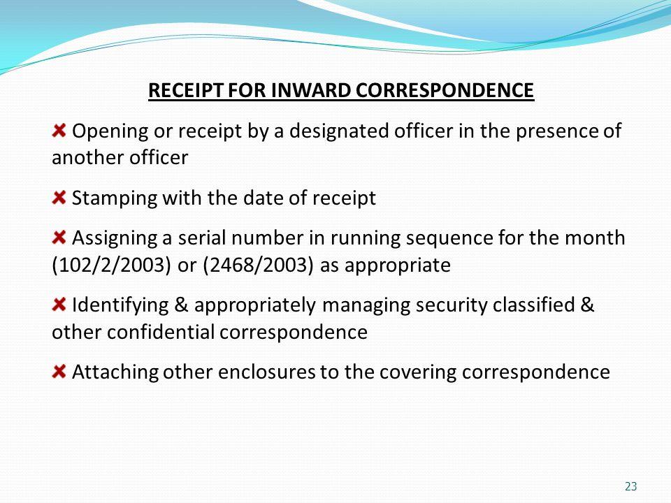 RECEIPT FOR INWARD CORRESPONDENCE
