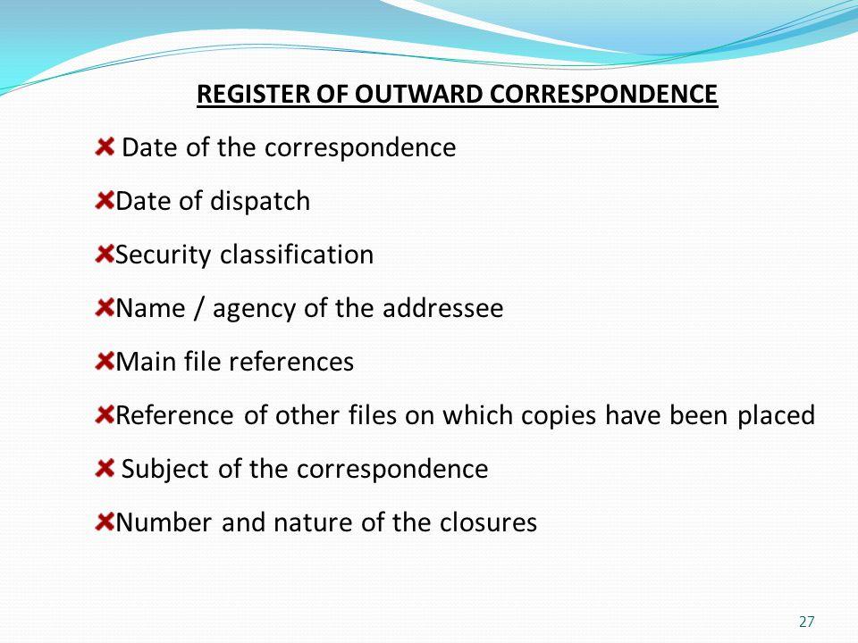 REGISTER OF OUTWARD CORRESPONDENCE