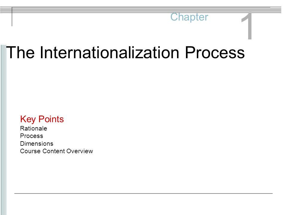 1 The Internationalization Process Chapter Key Points Rationale
