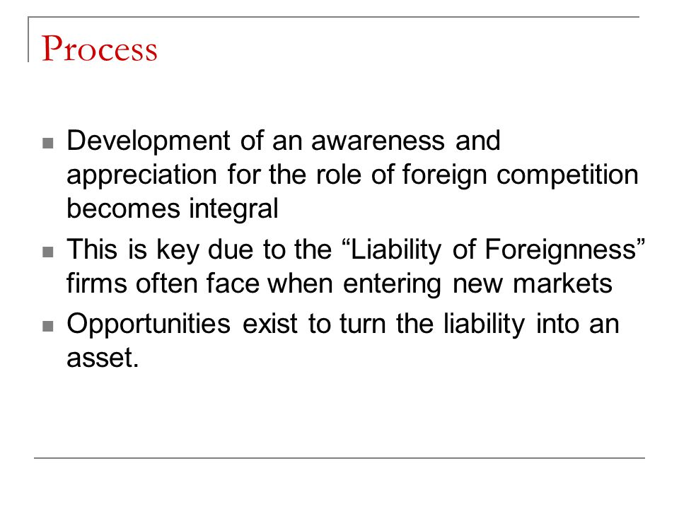 Process Development of an awareness and appreciation for the role of foreign competition becomes integral.