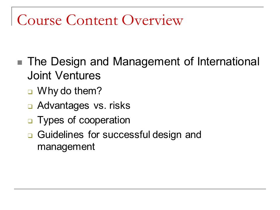 Course Content Overview