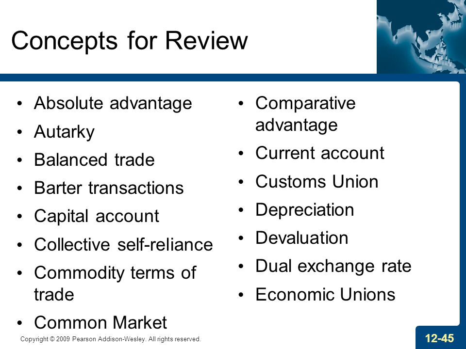 Concepts for Review Absolute advantage Autarky Balanced trade