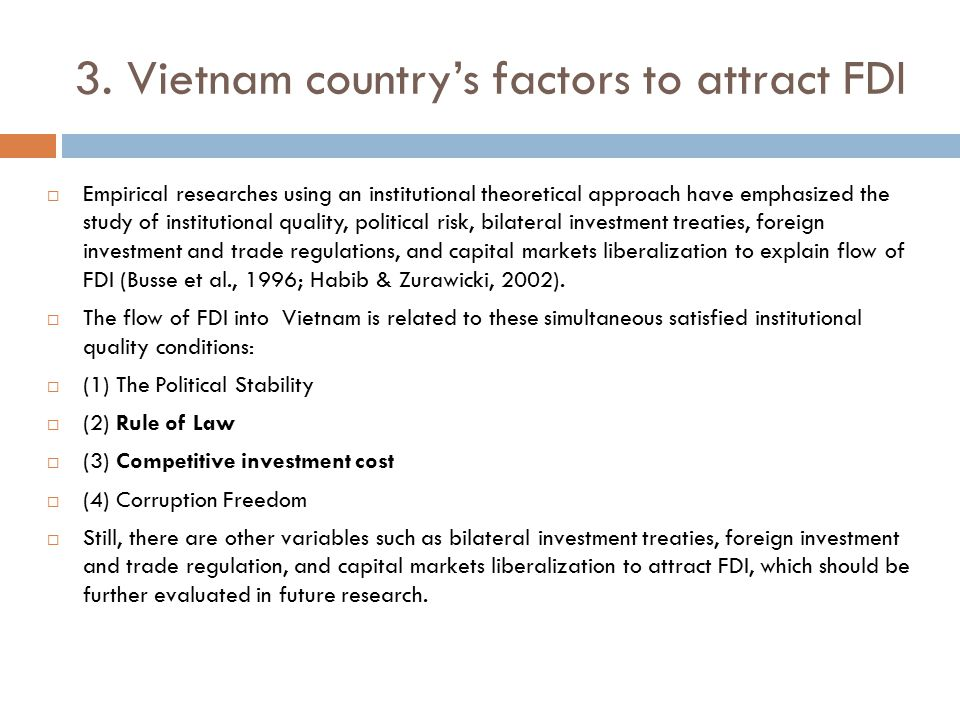 3. Vietnam country's factors to attract FDI