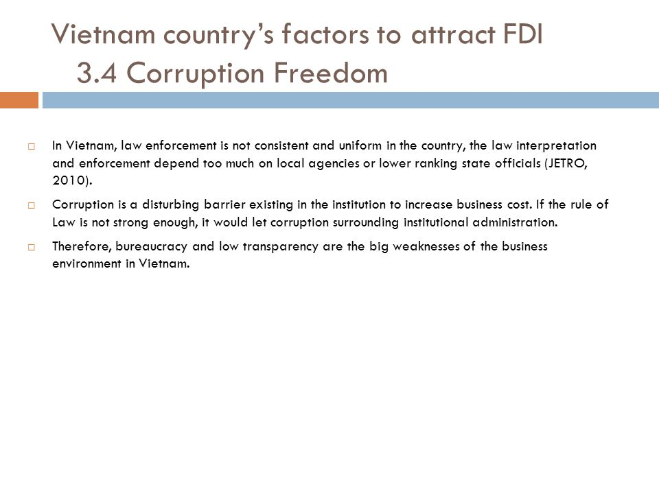Vietnam country's factors to attract FDI 3.4 Corruption Freedom