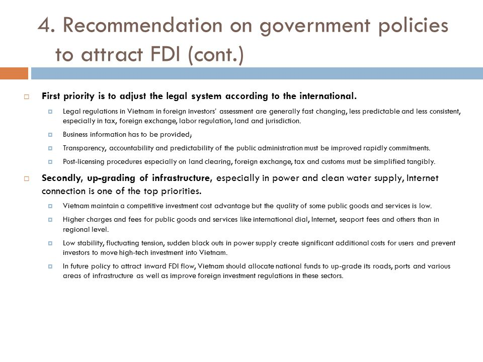 4. Recommendation on government policies to attract FDI (cont.)