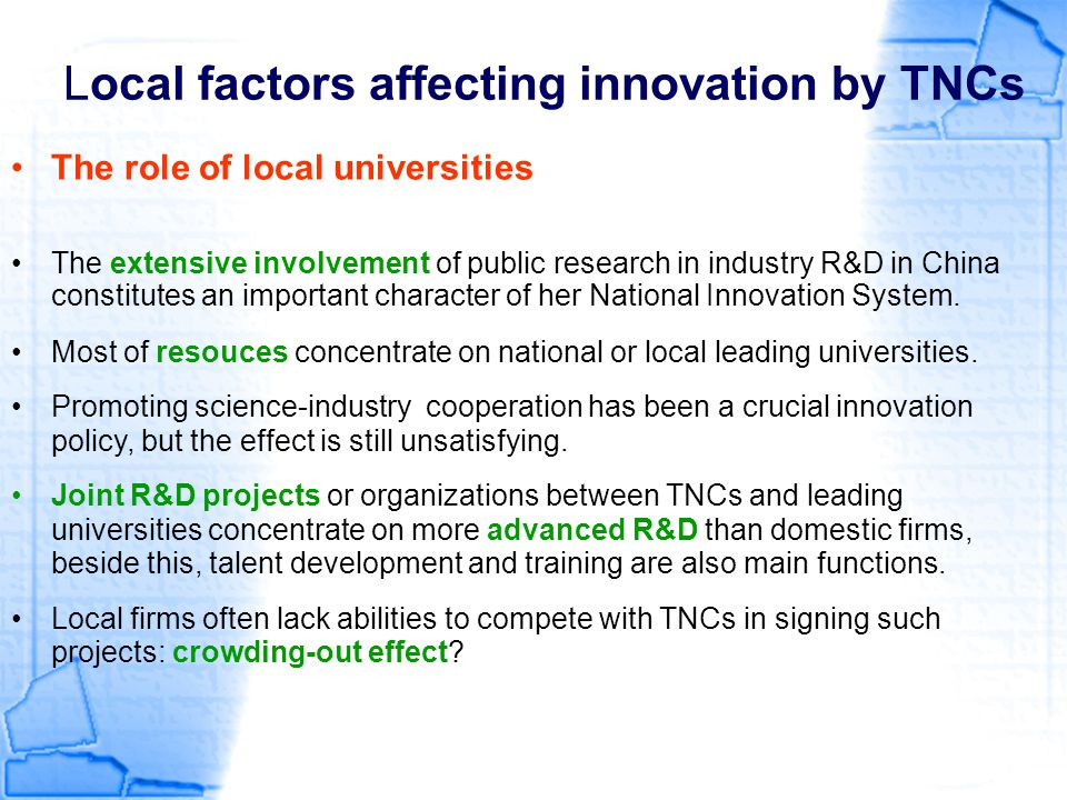 Local factors affecting innovation by TNCs