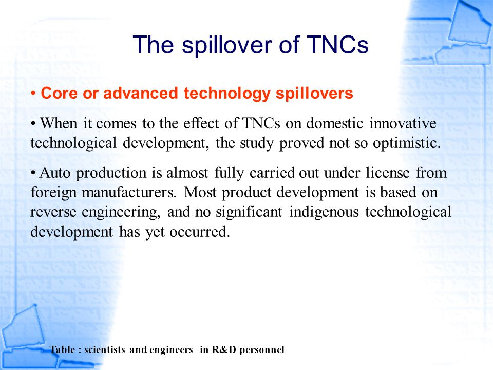 The spillover of TNCs Core or advanced technology spillovers