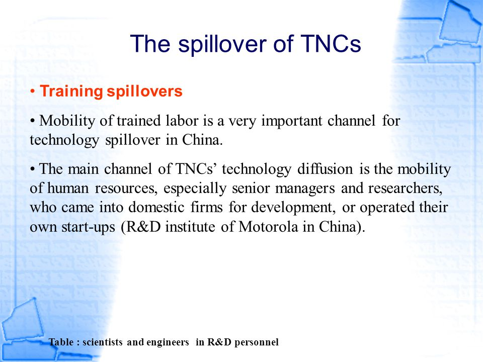 The spillover of TNCs Training spillovers