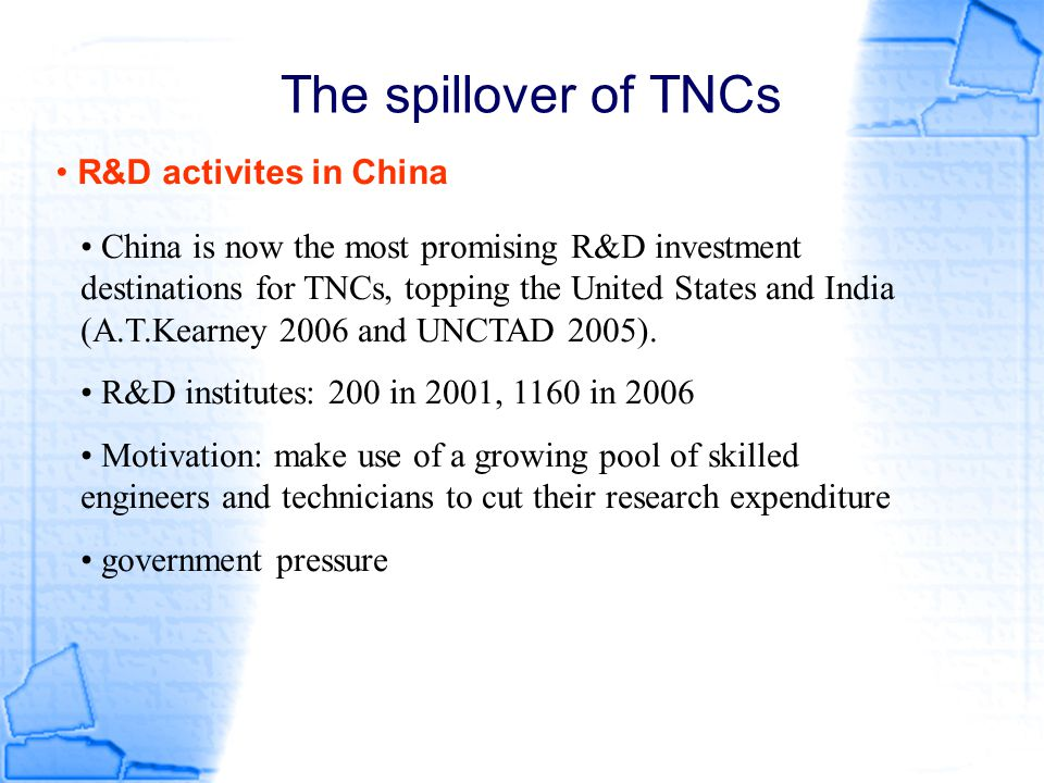 The spillover of TNCs R&D activites in China
