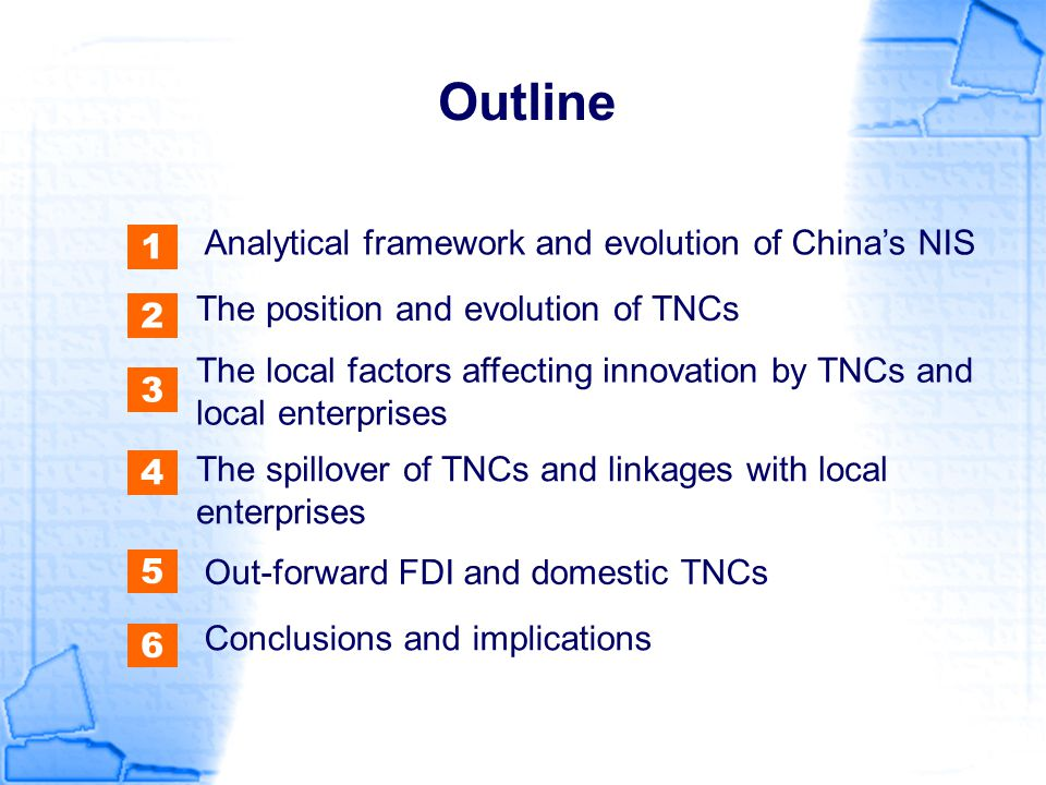 Outline Analytical framework and evolution of China's NIS 1