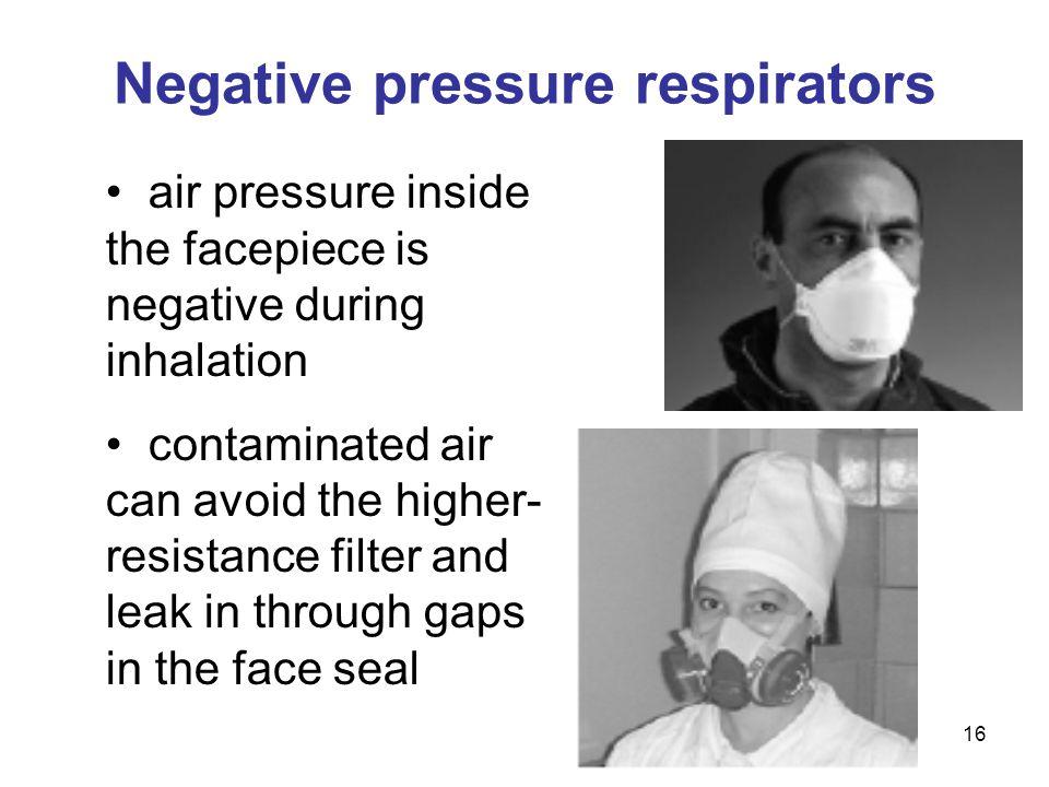 Negative pressure respirators