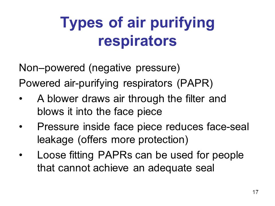 Types of air purifying respirators