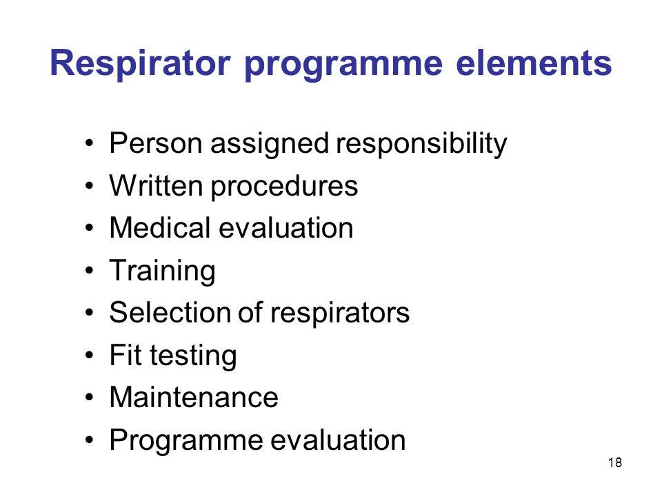 Respirator programme elements