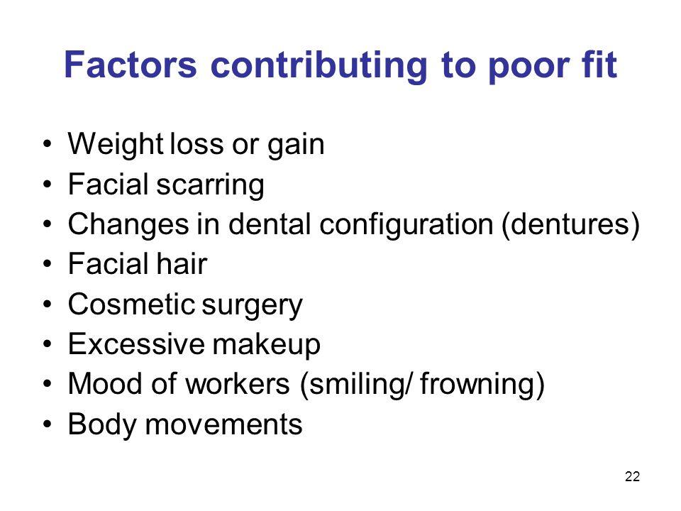 Factors contributing to poor fit