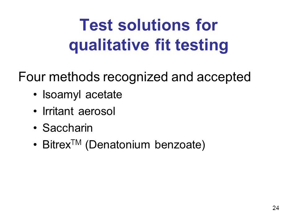 Test solutions for qualitative fit testing