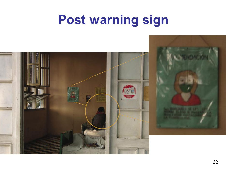 Post warning sign The slide shows a warning sign posted outside a patient's room in Brasil.