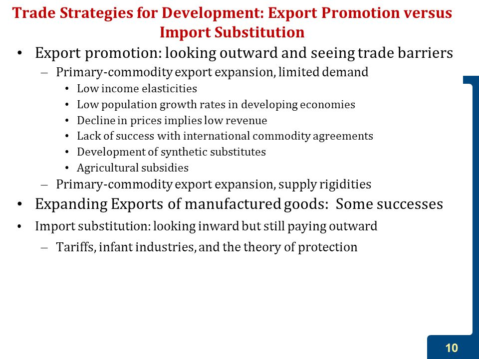 export promotion strategy vs import substitution Export promotion vs import substitution hakan yilmazkuday w hy do some countries develop more than others do their strategies on international trade have a role on this in this paper two different industrialization strategy, import substitution (is) and export promotion (ep), will be introduced .