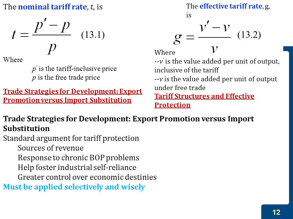 (13.1) (13.2) The nominal tariff rate, t, is