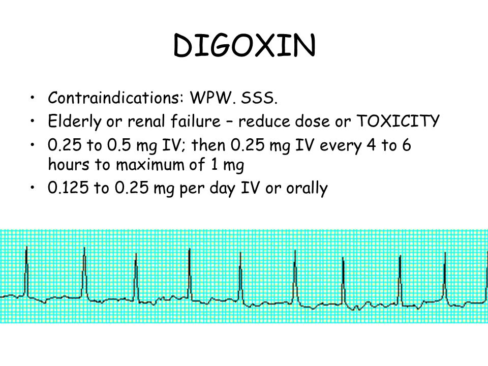 DIGOXIN Contraindications: WPW. SSS.
