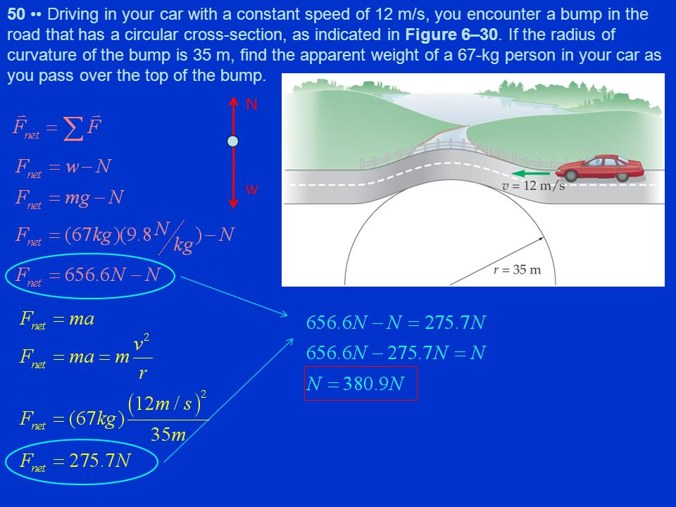 50 •• Driving in your car with a constant speed of 12 m/s, you encounter a bump in the road that has a circular cross-section, as indicated in Figure 6–30. If the radius of curvature of the bump is 35 m, find the apparent weight of a 67-kg person in your car as you pass over the top of the bump.