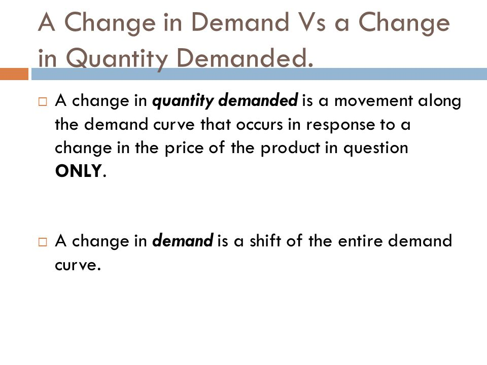 A Change in Demand Vs a Change in Quantity Demanded.