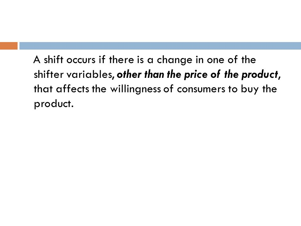 A shift occurs if there is a change in one of the shifter variables, other than the price of the product, that affects the willingness of consumers to buy the product.