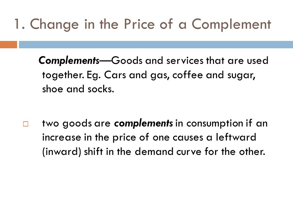 1. Change in the Price of a Complement