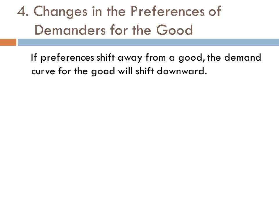 4. Changes in the Preferences of Demanders for the Good