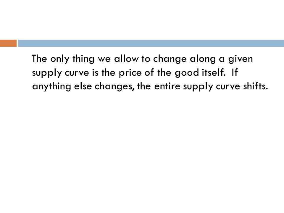 The only thing we allow to change along a given supply curve is the price of the good itself.