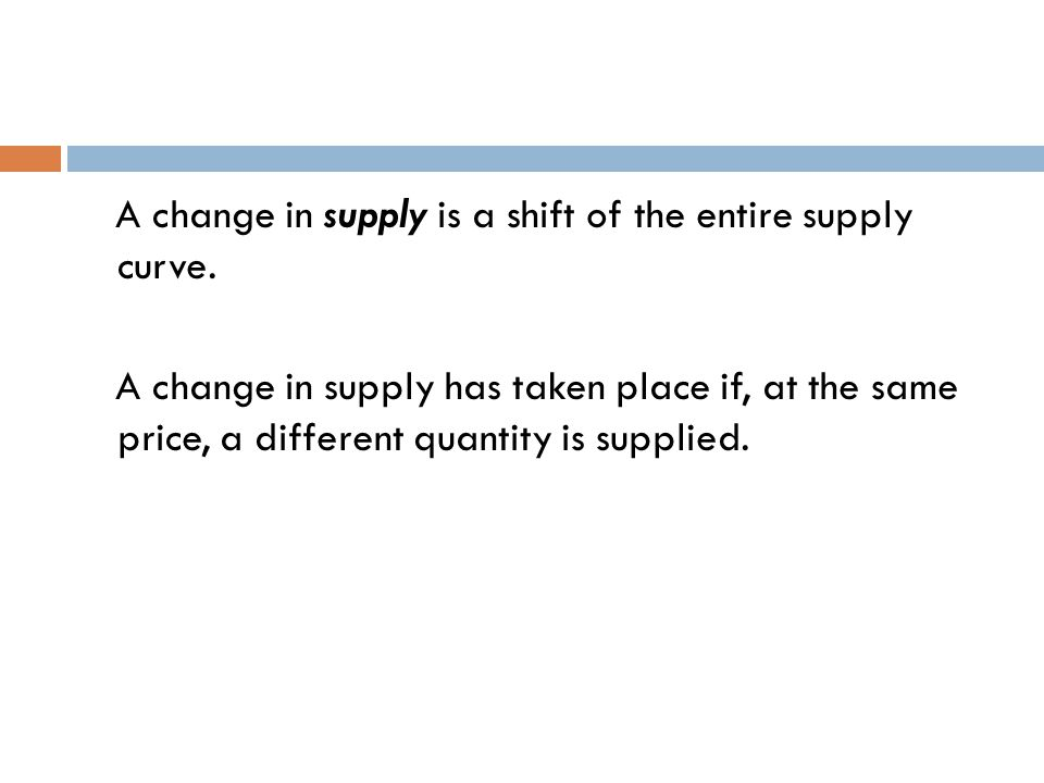 A change in supply is a shift of the entire supply curve.