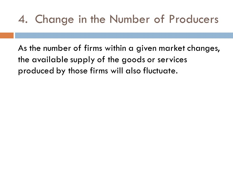 4. Change in the Number of Producers