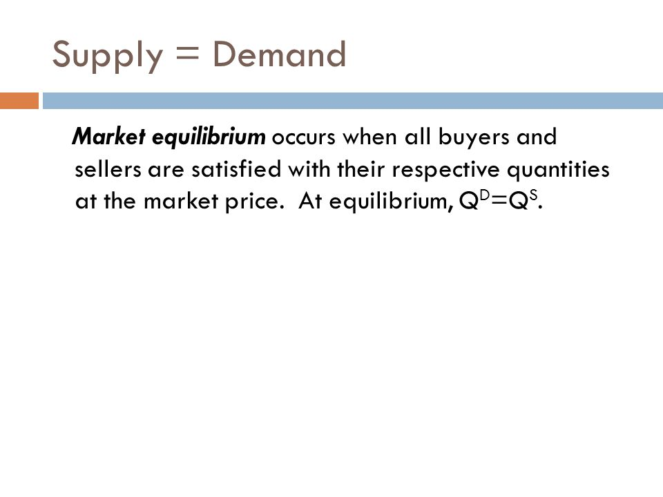 Supply = Demand