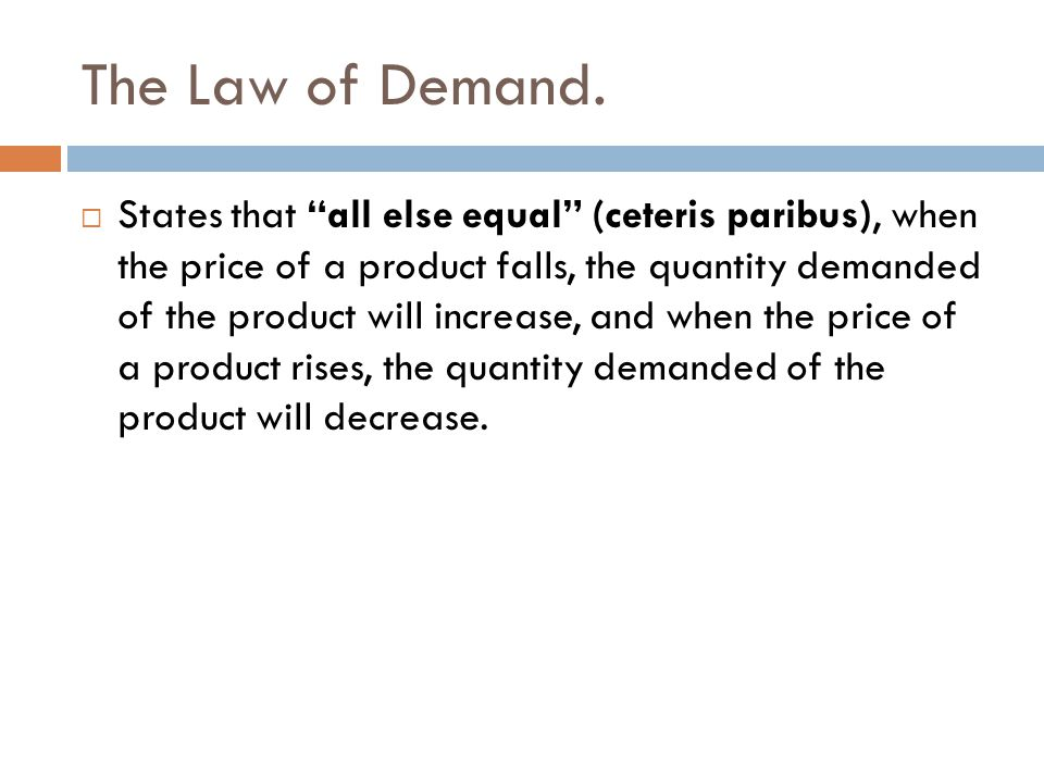 The Law of Demand.