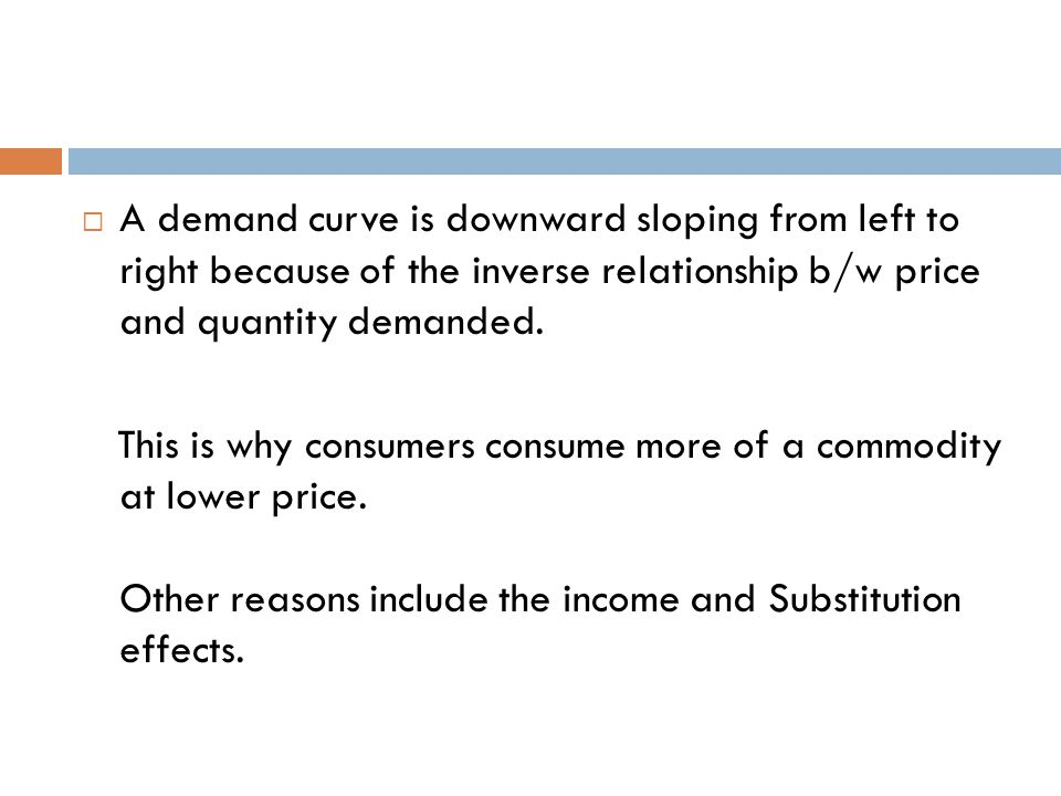 A demand curve is downward sloping from left to right because of the inverse relationship b/w price and quantity demanded.