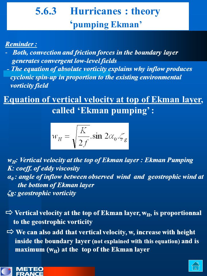Equation of vertical velocity at top of Ekman layer,