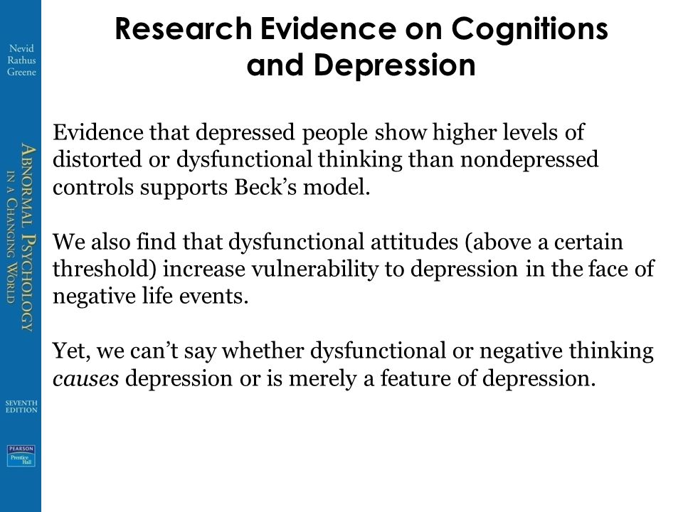 Research Evidence on Cognitions and Depression