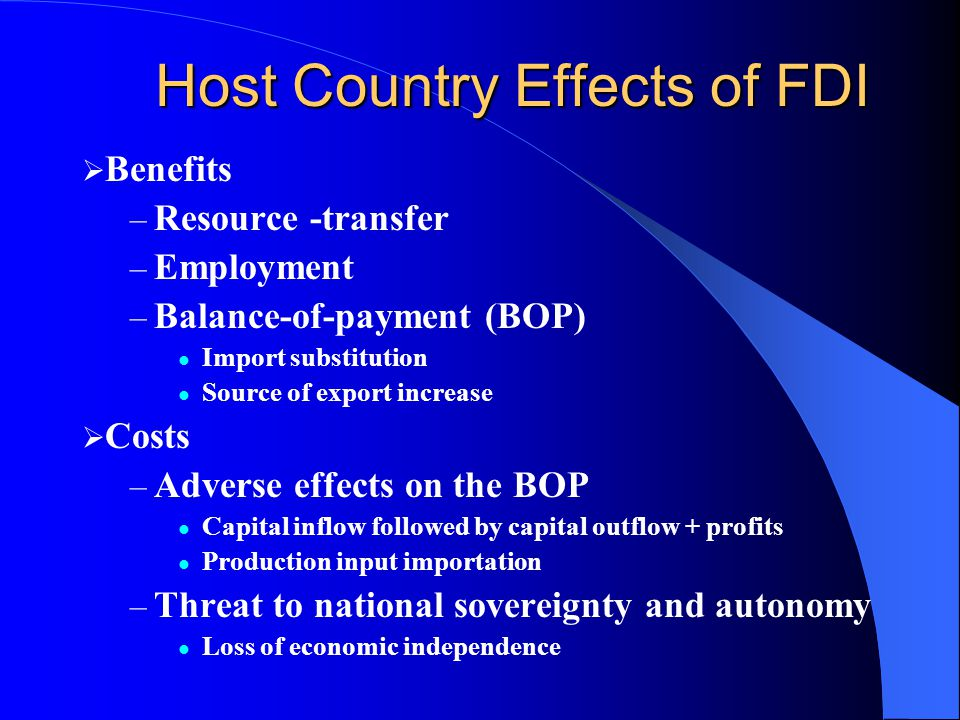Host Country Effects of FDI