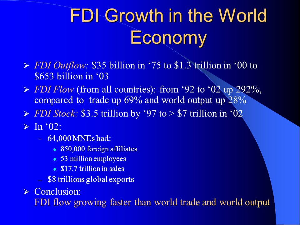 FDI Growth in the World Economy