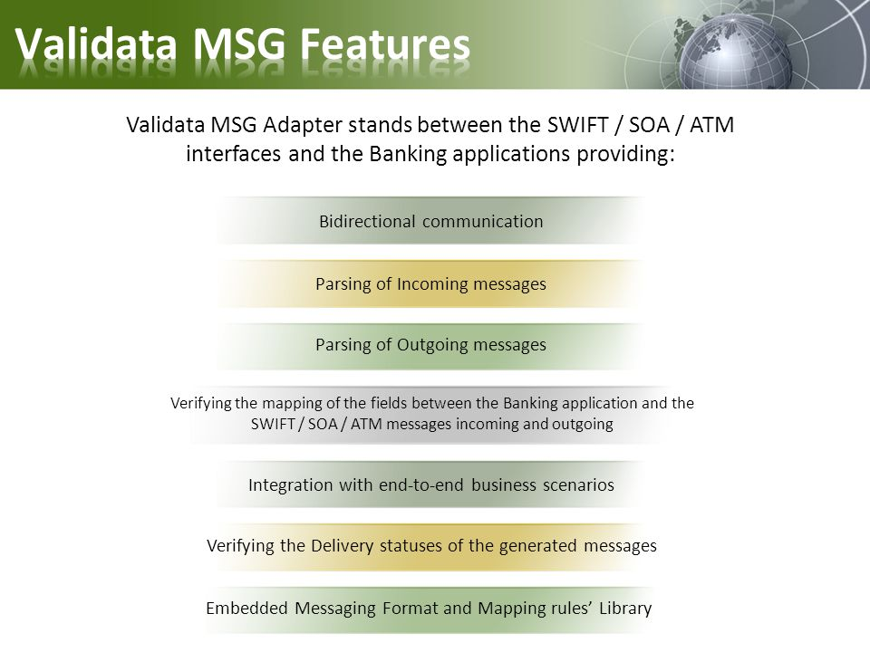 Validata MSG Features Validata MSG Adapter stands between the SWIFT / SOA / ATM interfaces and the Banking applications providing: