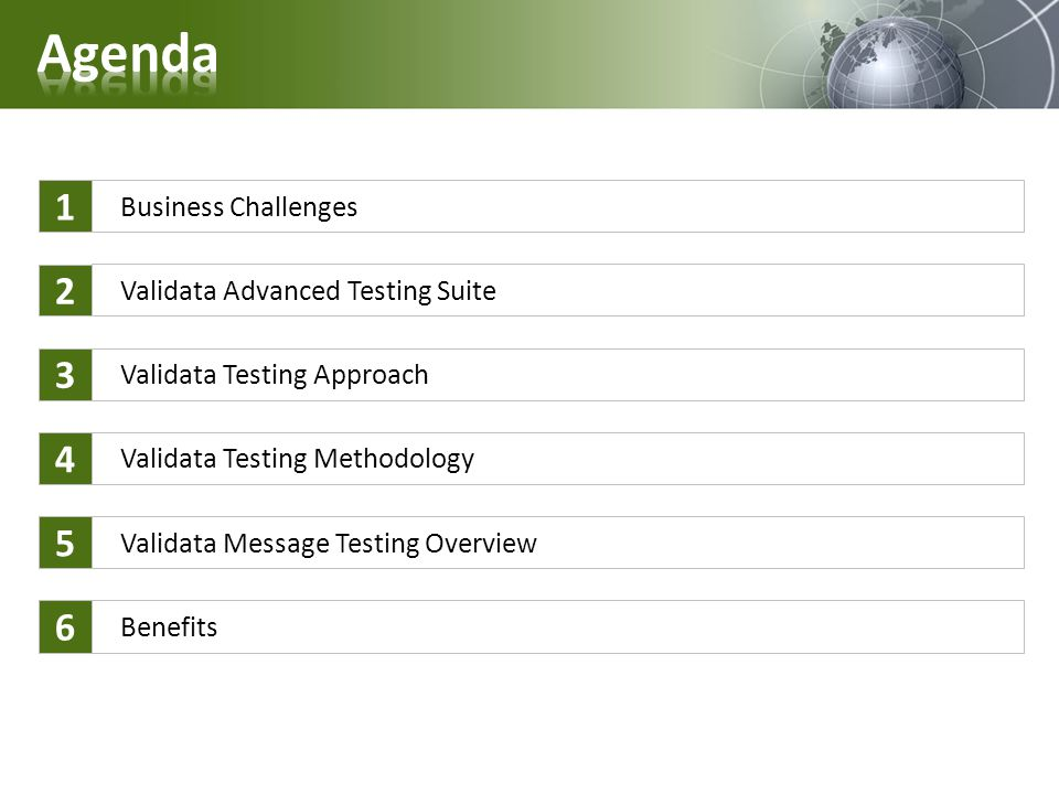 Agenda 1 2 3 4 5 6 Business Challenges Validata Advanced Testing Suite