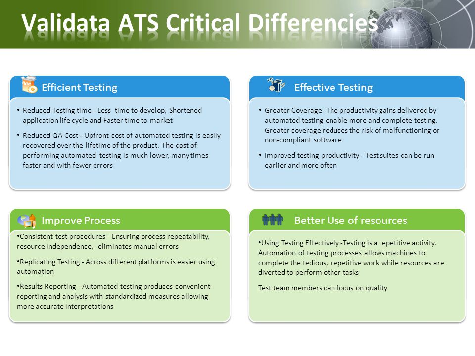 Validata ATS Critical Differencies