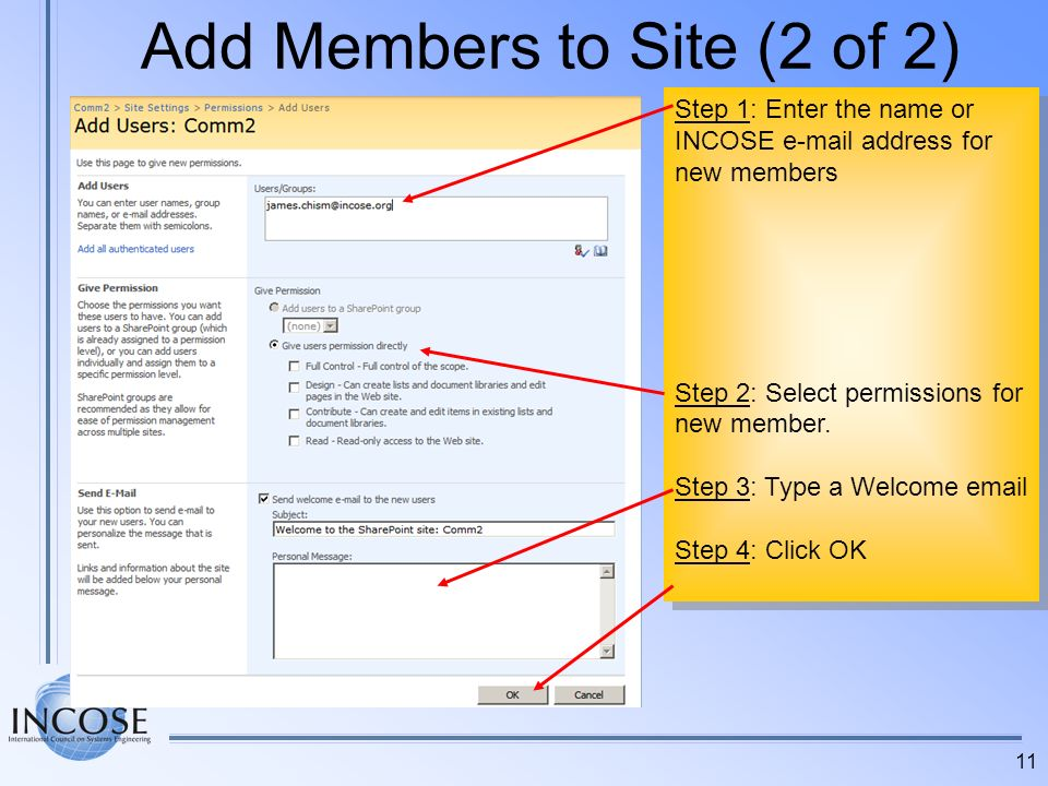 Add Members to Site (2 of 2)