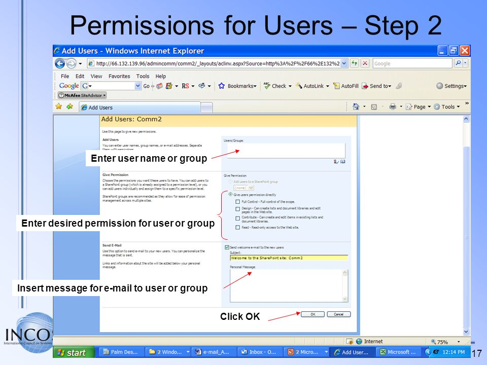 Permissions for Users – Step 2