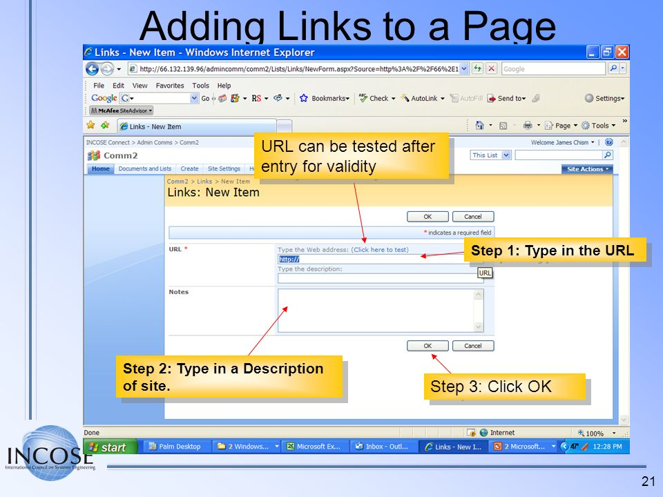 Adding Links to a Page URL can be tested after entry for validity