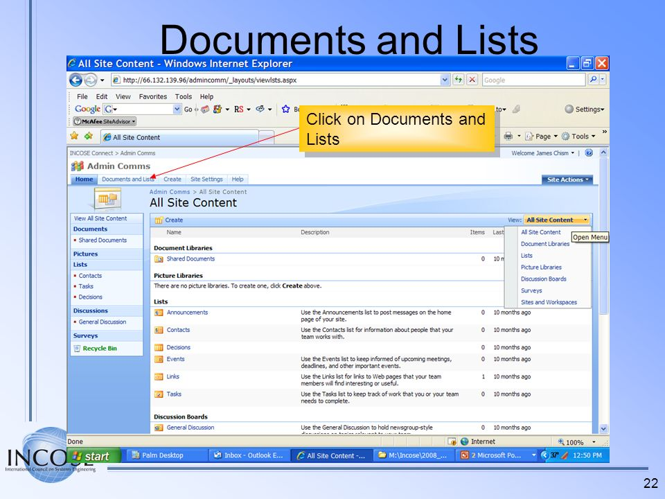 Documents and Lists Click on Documents and Lists