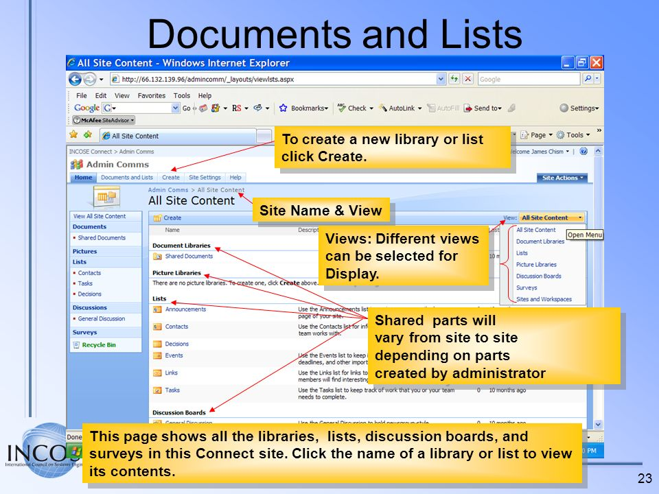Documents and Lists To create a new library or list click Create.