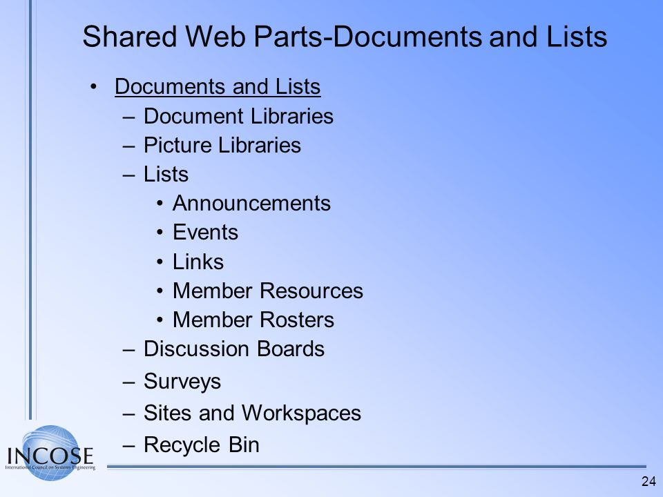 Shared Web Parts-Documents and Lists
